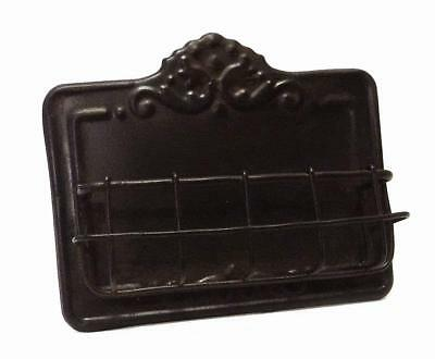 Vintage Style Antique Brown Metal Business Card Holder Free Standing Display