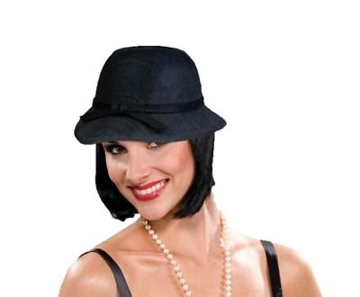 Black Cloche Flapper Hat Women Costume Accessory Roaring 20's the Great Gatsby - The Great Gatsby Hats