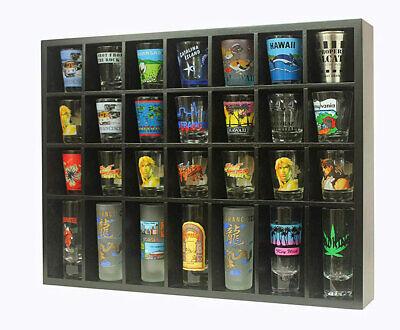 Shot Glass Holder (28 Shot Glass Display Case  Rack Wall Shelves Shadow Box Holder Cabinet,)