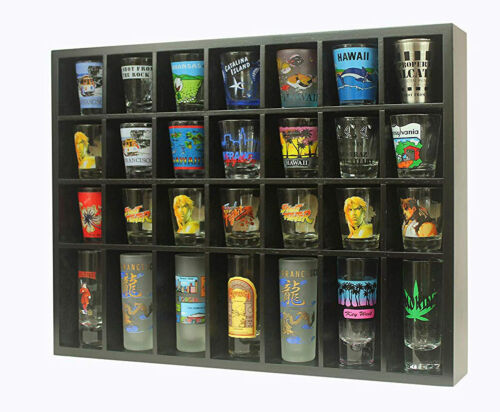28 Shot Glass Display Case  Rack Wall Shelves Shadow Box Holder Cabinet, SC11-BL