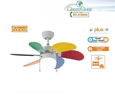 Agitatore/Ventilatore da soffitto con 6 pale multicolore 1 lampada Vinco - 70928