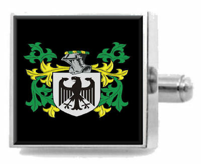 Rackett England Family Crest Surname Coat Of Arms Cufflinks Personalised Case segunda mano  Embacar hacia Argentina