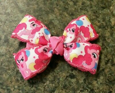 Pinkie Girl (My little pony pinkie pie Set of 2 hair bow girl nonslip alligator clip)