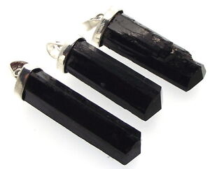 Large Black Tourmaline Natural Gemstone Point Pendant