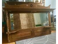 Unique large wooden ornate wall mirror with shelves