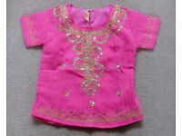 Pink and gold sequinned age 2-4yrs short sleeved top. Indian style. Kolkata. London NW3