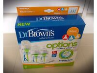 Dr Browns Options Deluxe Starter Kit Natural Flow Bottles , Reduce Colic Burping & Wind 150ml,270ml