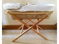 BABY MOSES BASKET COT & ECO FOLDING MOSES BASKET STAND Natural Pine Eco Baby Stand Hood/Liner CRIB