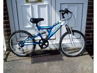 "MOUNTAIN BIKE,20"" ALLOY WHEELS, F+R SUSPENSION, SERVICED NEW PARTS."