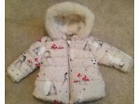 Brand New Next Baby Girl 6-9 Months Polar Bear, Woodland Deer & Mushroom Print Padded Jacket