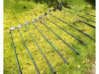 GOLF CLUB SET of 9 MacGregor irons, 2 drivers, putter and bag