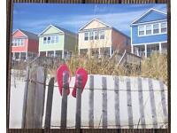 Flip flop beach hut wall canvas picture
