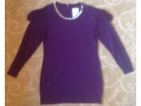 Purple Long Sleeve Shift Mini Dress with Silvery Neck Trim by Just Elegance