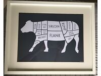 Set of 3 x Framed Butcher Meat Cuts Prints