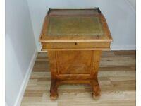 Lovely Victorian Antique Davenport Writing Desk Burr Walnut Circa 1850s