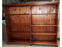 Large open-fronted stained pine bookcase