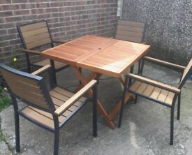 Hardwood Dining Table & Four PollyWood Chairs, New / Unused