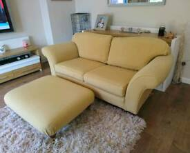 Multi-York Sofa in Gold & Footstool, DELIVERY AVAILABLE
