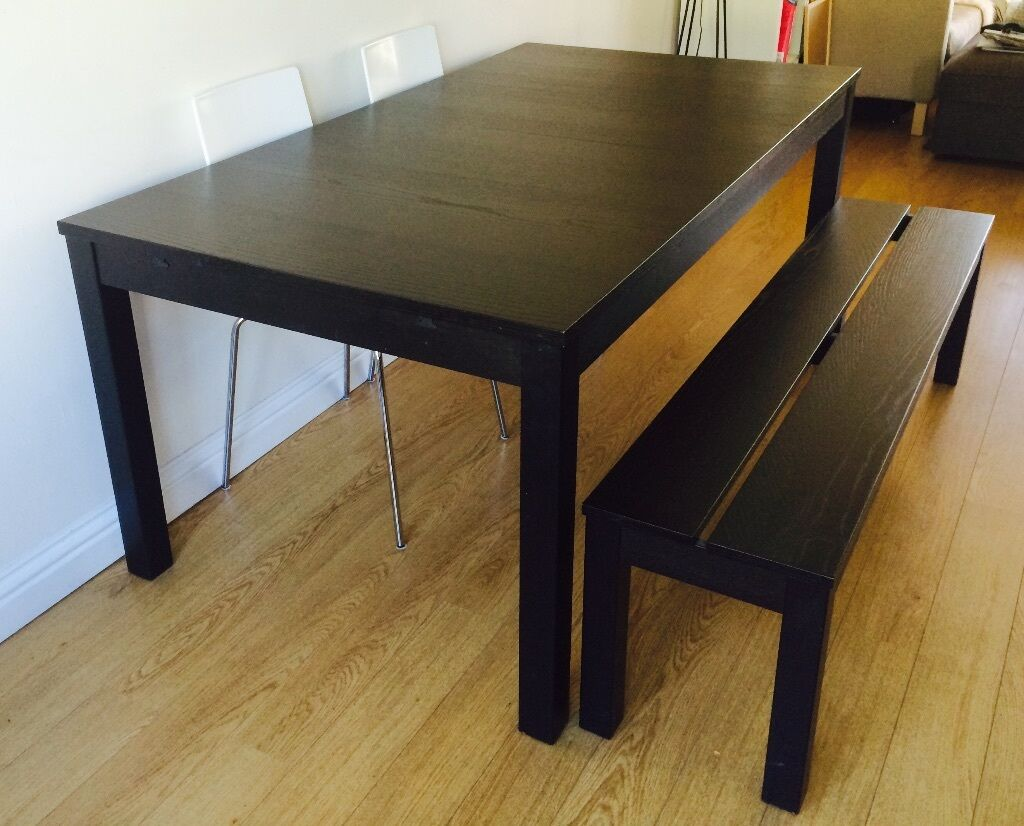 extendable ikea bjursta table seats up to 10 and bjursta bench 100 in newport on tay fife. Black Bedroom Furniture Sets. Home Design Ideas
