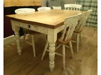 Shabby Chic Solid Pine Dining Table With Drawer And 6 Chairs