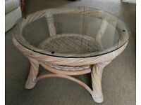 Large Round Cane Coffee Table w/ Glass Top - 76cm x 41cm - £10 - AVAILABLE TODAY