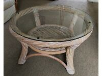 Large Round Cane Coffee Table w/ Glass Top - 76cm x 41cm