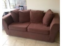 2 seater & 3 seater brown velour settees.