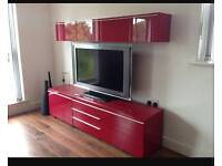 Red gloss tv entertainment unit