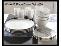 Brand new white dinner set