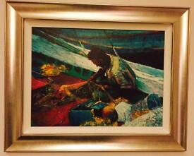 Framed Rolf Harris Ltd Edition Certificated Print on Board Mending The Nets 120/195