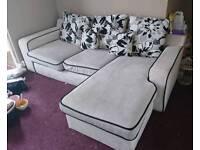 Cream And Black Corner Sofa