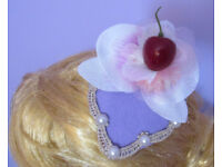 Handmade Ascot teardrop flower pearl cherry lace fascinator hat. fastening is by 2 clips