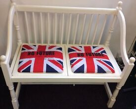 Sex Pistols Punk BENCH NO FUTURE Union Jack Flag shabby Seat vintage furniture