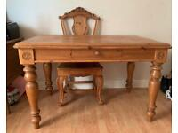 Solid pine wood table and chairs (x4)