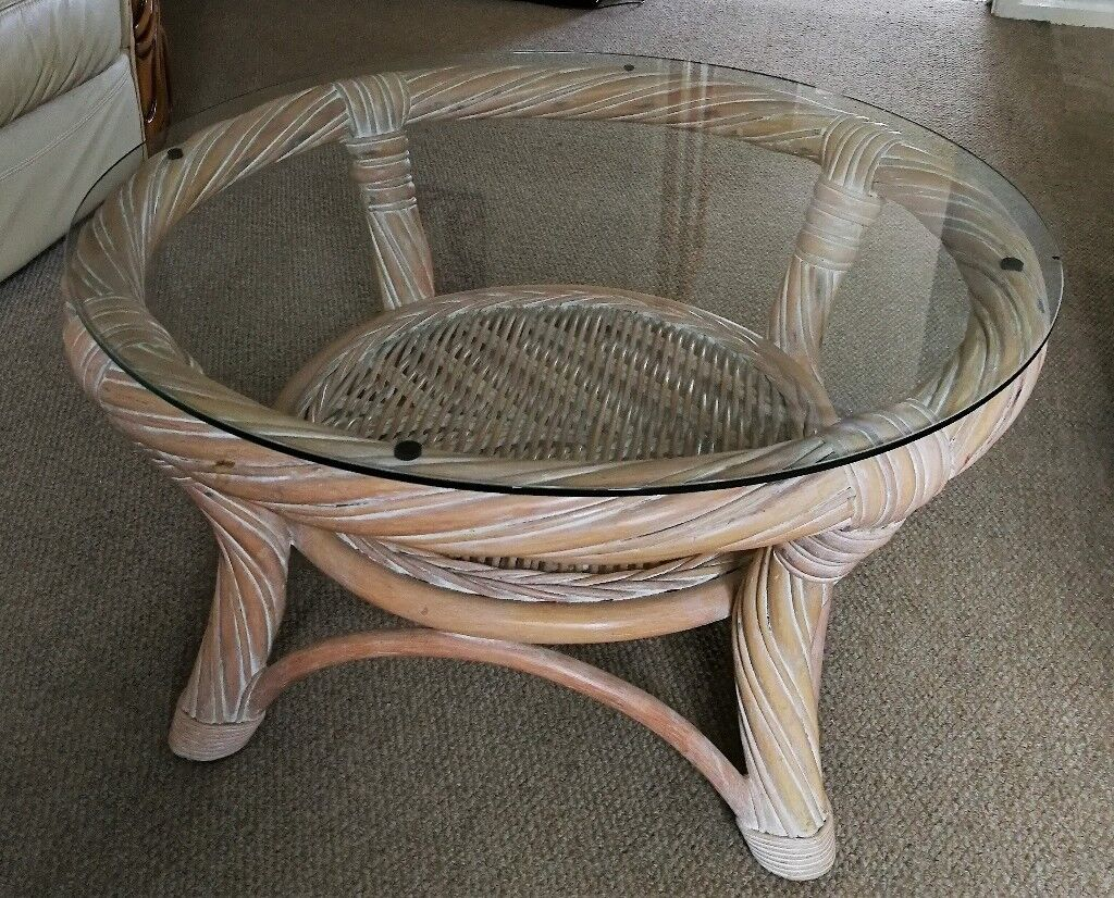 Large Round Cane Coffee Table W Glass Top 76cm X 41cm 30 Ono