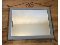 Ducal Pine Mirror with metal trim (chalk painted-Paris Grey)