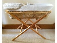 Baby Moses Basket Cot & ECO Folding Moses Basket Stand Natural Pine Eco Baby Stand White Hood/Liner