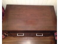 Solid wood tv stand with 2 large drawers