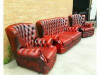 Vintage Chesterfield 3 piece suite in a oxblood red can deliver