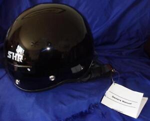 SHR A-617 Half Motorcycle Helmet Solid Gloss Black XXL NIB Kawartha Lakes Peterborough Area image 1