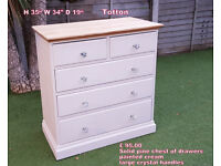 solid pine chest of drawers painted cream with large crystal handles shabby chic style