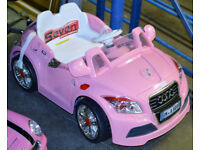 Kiddies Pink Audi TT Roadster 12v Electric Ride On Car Lights, MP3 Player (Needs Battery Charger)