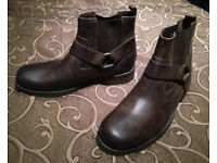 Mens Brown Leather Biker Style Boots UK 10 Brand New Unworn Marks & Spencer M&S