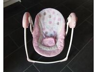 BRIGHT STARTS COMFORT & HARMONY BABY SWING IN PINK WITH MUSIC & 6 SPEEDS