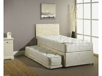 SINGLE GUEST BED 3 IN 1 WITH MATTRESS PULLOUT TRUNDLE BED