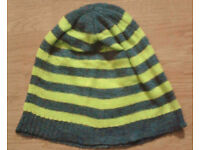 Ladies Grey Marl and Green Striped Knit Beanie Hat.
