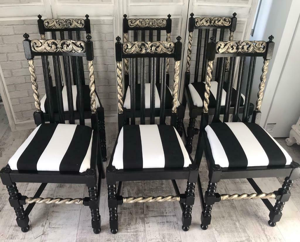 Incredible Stunning Set Of 6 Barley Twist Dining Chairs With Bold Stripe Seat Pads In Waterlooville Hampshire Gumtree Pabps2019 Chair Design Images Pabps2019Com