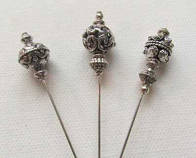 "THREE Long Vintage Antique Tibetan Silver Style Hat Pins 6"" with Pin Protector*"