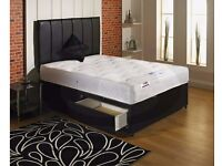 BRAND NEW 4FT4 DOUBLE DIVAN BED WITH QUILTED MATTRESS + STORAGE OPTION