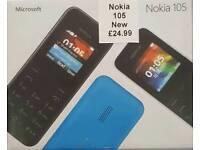 Uk Stock Orignal Nokia 105-Black,Blue(Unlocked)Brand New With Warranty